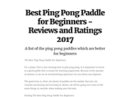 Best Ping Pong Paddle for Beginners - Reviews and Ratings 2020