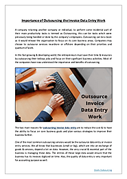 Importance of Outsourcing the Invoice Data Entry Work
