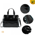 Mens Black Leather Business Bag CW891073 - cwmalls.com
