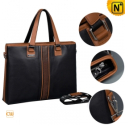 Mens Black Leather Business Handbags CW901582 - CWMALLS.COM