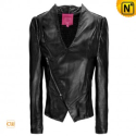 Black Cropped Women Leather Jacket CW618141 - m.cwmalls.com