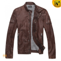 Mens Brown Leather Motorcycle Jacket CW871156 - cwmalls.com