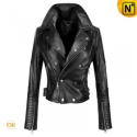 Black Women Leather Motorcycle Jackets CW608102 - cwmalls.com