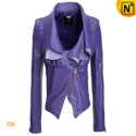 Purple Cropped Leather Jacket CW608103 - cwmalls.com
