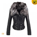Women Black Cropped Leather Jacket CW670002 - CWMALLS.COM
