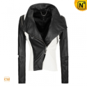 Women Cropped Black/White Leather Jacket CW670115 - CWMALLS.COM
