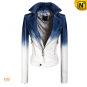 Cropped Blue/White Leather Jacket CW608335 - CWMALLS.COM