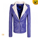 Women Purple Cropped Leather Jacket CW670028 - CWMALLS.COM