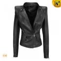 Women Black Cropped Leather Jacket CW670119 - CWMALLS.COM