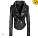 Women Black Cropped Leather Jacket CW670123 - CWMALLS.COM