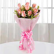 12 Pink Roses Bouquet - Indiagift.in