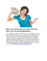 Short Term Personal Loans- Get the Loan You Need within the Hour of Applying
