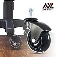 Office Chair Caster Wheels Roller Blade for Hardwood, Replacement Computer Mat, PU Style Castors, Desk Chair Floor Pr...