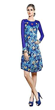 Sinina Blue Georgette Embroidered And Printed Women'S Wear-Aura226