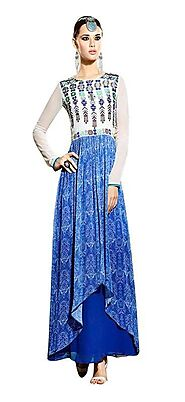 Sinina Blue Georgette Embroidered And Printed Women'S Wear-Aura220