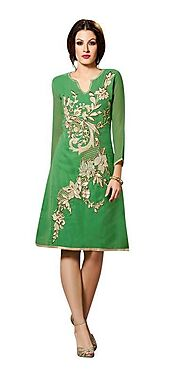 Glamor Green Georgette Embroidered Women'S Wear - Glamor285