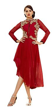 AOF Red Color Georgette Embroidered Wear -AOF5101​