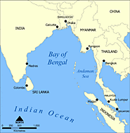 A map showing the location of the Bay of Bengal and the Andaman Sea in southeast Asia. Created by NormanEinstein, Sep...