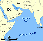 A map showing the location of the Arabian Sea in the Indian Ocean.