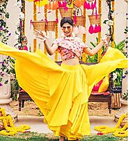 Modern Silhouette With Asymmetrical Skirt Haldi Dress For Brides