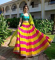 Pink And Yellow Shades Haldi Dress For Brides 2020