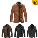 Mens Quilted Leather Coat CW138120 - cwmalls.com