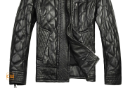Mens Black Quilted Sheepskin Leather Jackets CW804052