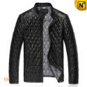 Black/Tan Quilted Mens Leather Jacket CW821001 - CWMALLS.COM