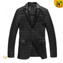 Black Quilted Leather Blazer Jacket CW833933 - CWMALLS.COM