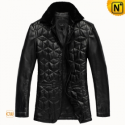 Mens Black Quilted Leather Coat CW833619 - CWMALLS.COM