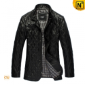 Mens Black/Brown Quilted Leather Coat CW880092 - CWMALLS.COM