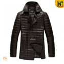 Black/Brown Quilted Trench Coat CW880060 - CWMALLS.COM