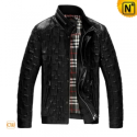 Mens Black Quilted Leather Jacket CW861817 - CWMALLS.COM