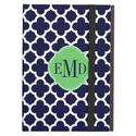 Quatrefoil Pattern Navy Blue and White Monogram - iPad Air Case