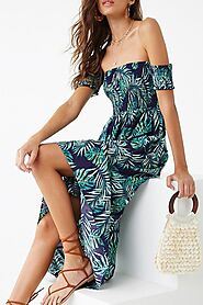 Buy Tropical Leaf Print Maxi Dress for Women Online @1799/-