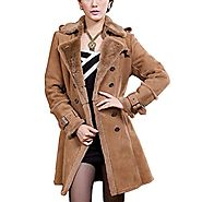 Canberra Womens Brown Shearling Coat CWMALLS
