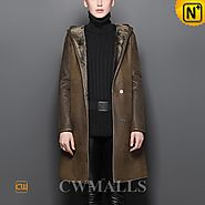 CWMALLS® Women Hooded Shearling Trench Coat CW605523