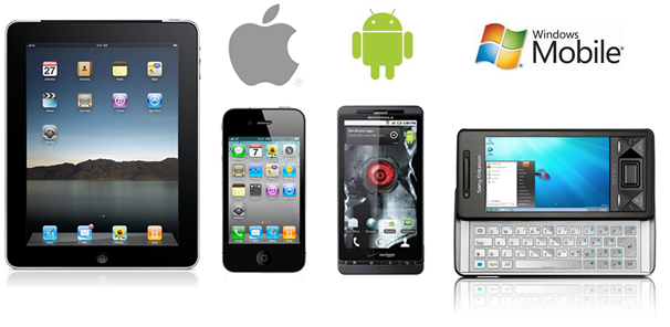 Headline for Mobile application development services on Android, iPhone, Windows and J2ME platforms, serving globally.