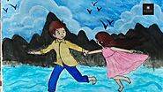 #boygirllove #scenery Boy with Love | Boy and girl | Painting of girl and boy | cute couple drawing