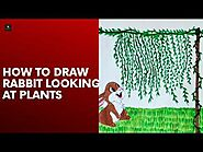 How to draw rabbit looking at plants