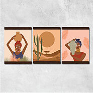 Wall hanging canvas – Set of 3 – Boho Art