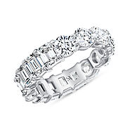 Half Emerald Half Round Diamond Eternity Band