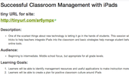 Successful Classroom Management with iPads