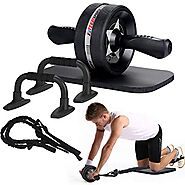 EnterSports Ab Roller Wheel, 6-in-1 Ab Roller Kit with Knee Pad, Resistance Bands, Pad Push Up Bars Handles Grips, Pe...