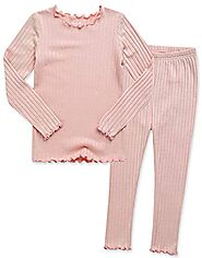 VAENAIT BABY Kids Girls Long Sleeve Modal Sleepwear Pajamas 2pcs Set Shirring Peach S