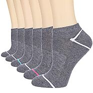 Heatuff Women's 6 Pack Performance Low Cut Ankle Socks Moisture Control Athletic Cushioned Sock With Arch Support