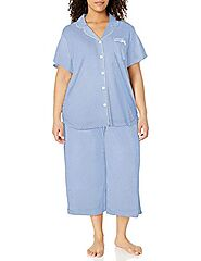 Karen Neuburger Women's Short Sleeve Girlfriend Capri Pajama Set Sleepwear, -dot/coral, XL