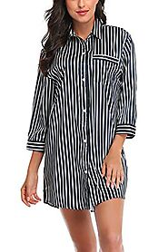 Memory baby Women's Boyfriend Sleep Shirt Dress Striped Button Down Nightgown Pajama Duster S-XXL