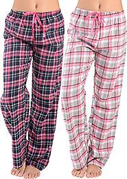 Women Flannel Lounge Pants-2 Pack-Plaid Pajama Pants Cotton Blend Pajama Bottoms(Black Pink & Pink Grey, Medium)
