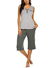 Ekouaer Women's V-Neck Knit Sleepwear Sleeveless Top With Pants Pajama Set Light Grey